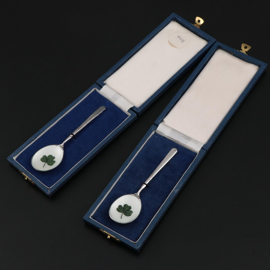 Royal Irish Silver Co. Sterling Silver and Enamel Souvenir Spoons, 1970