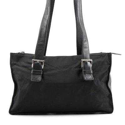 Prada Black Nylon and Leather Buckle Bag