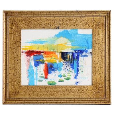 "Said Oladejo-lawal Acrylic Painting ""Sunrise,"" 21st Century"