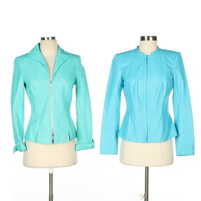 Lafayette 148 New York Turquoise and Green Leather Jackets with Zipper Closures