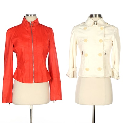 Andrew Marc Leather Zipper-Front and Double-Breasted Jackets in Red and Ivory