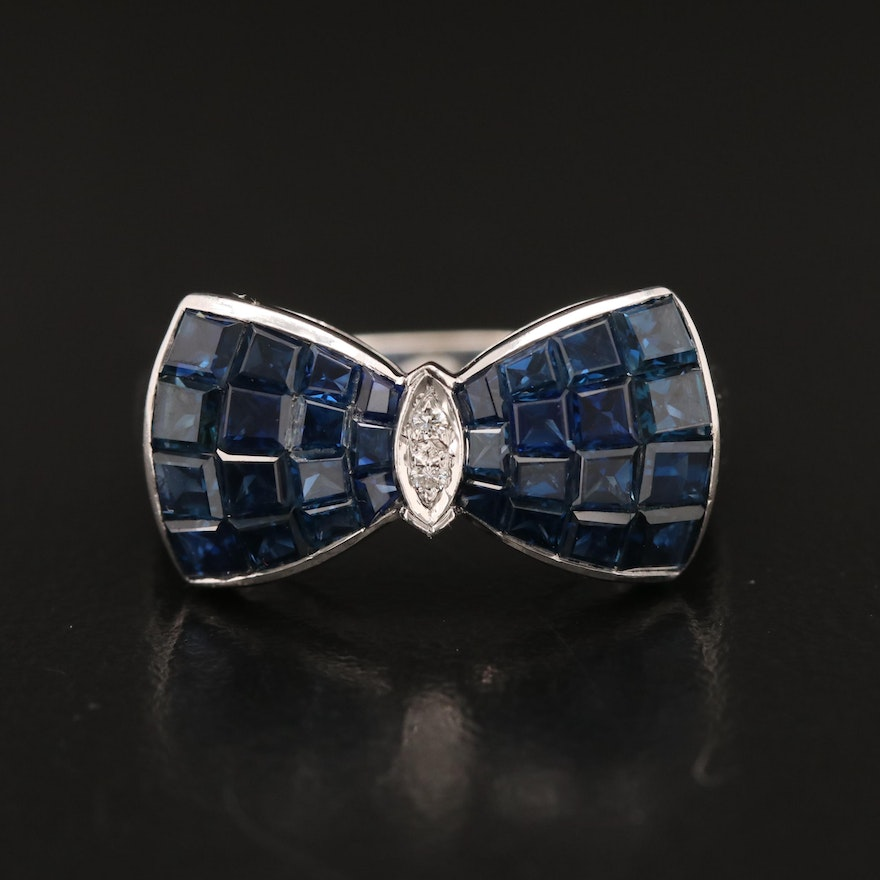 18K Invisible Set Sapphire and Diamond Bow Motif Ring