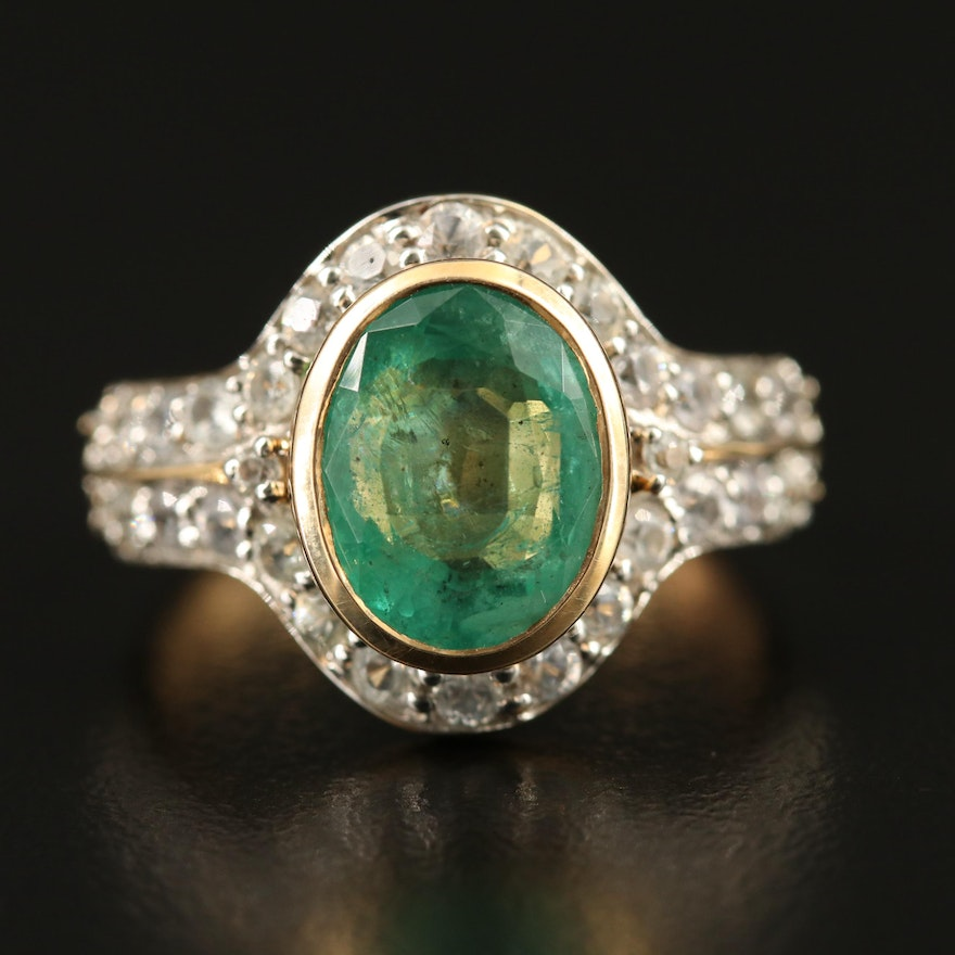 14K Emerald and Topaz Ring