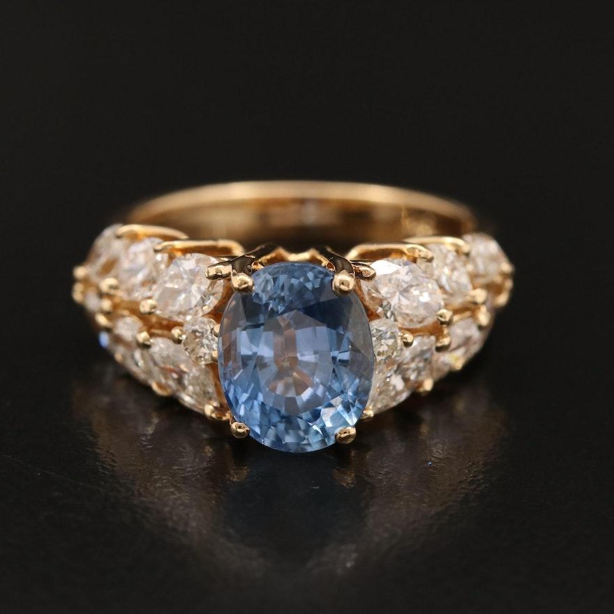 18K 3.23 CT Sapphire and 2.02 CTW Diamond Ring