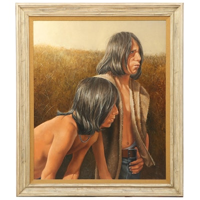 "Paul Collins Oil Painting ""Joe & Les,"" Late 20th Century"