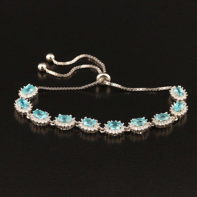 Sterling Silver Apatite and Cubic Zirconia Link Bracelet