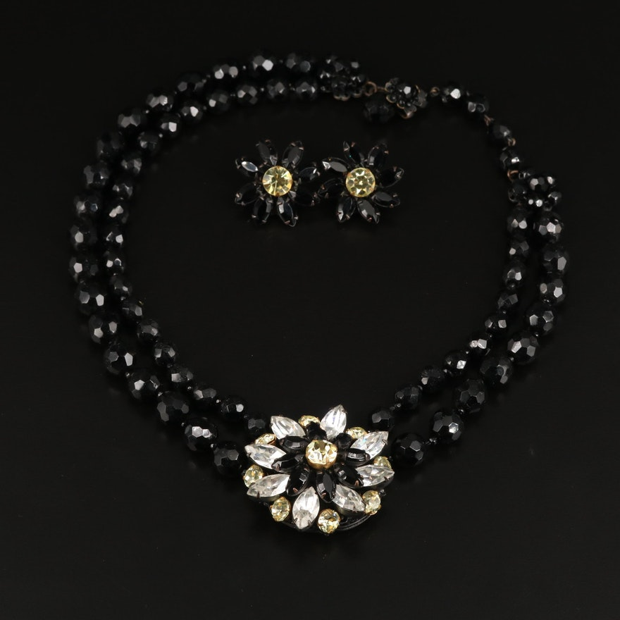 Vintage Miriam Haskell Necklace and Clip Earrings