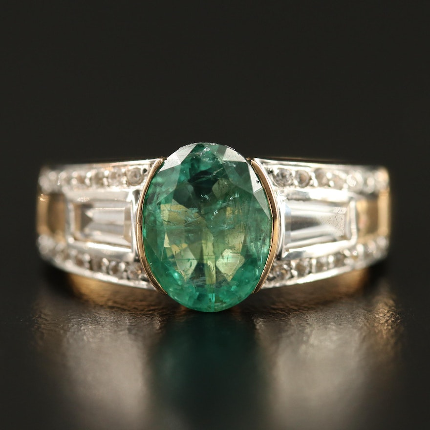 9K Emerald and Topaz Ring