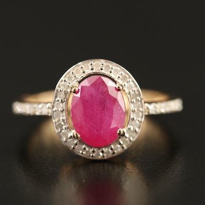 10K Corundum and Diamond Halo Ring