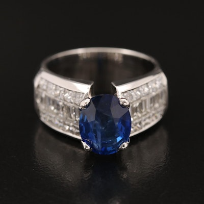 18K and 14K 3.25 CT Sapphire and 1.95 CTW Invisible Set Diamond Ring