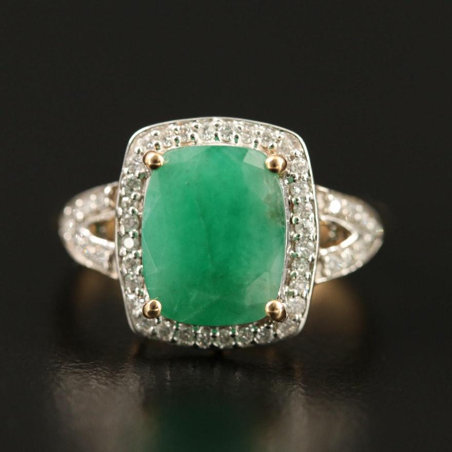 14K Beryl Ring with Diamond Halo