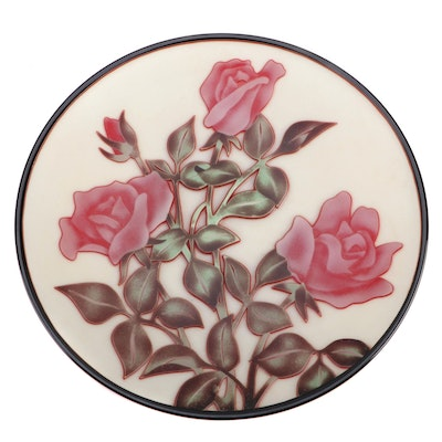 Floral Relief Glass Charger with Presentation Case