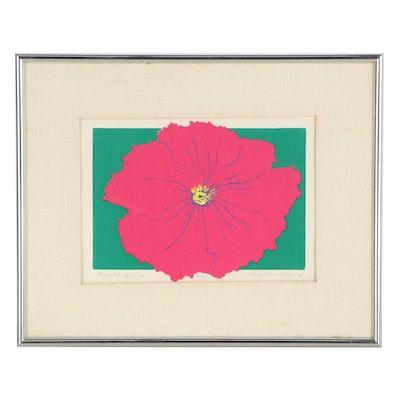 "Carmen Bergstrom Thorpe Serigraph ""Good Old Petunia,"" 1982"