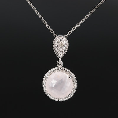 Sterling Silver Rose Quartz and Diamond Pendant Necklace