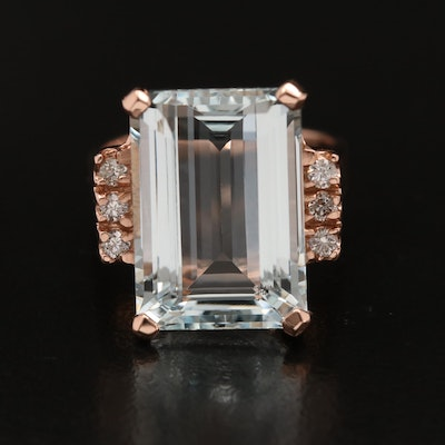 14K 8.70 CT Aquamarine and Diamond Ring