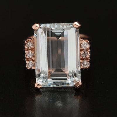 14K 8.70 CT Aquamarine and Diamond Ring