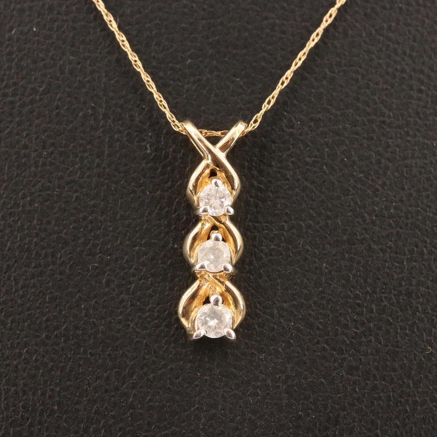 10K Diamond Pendant Necklace