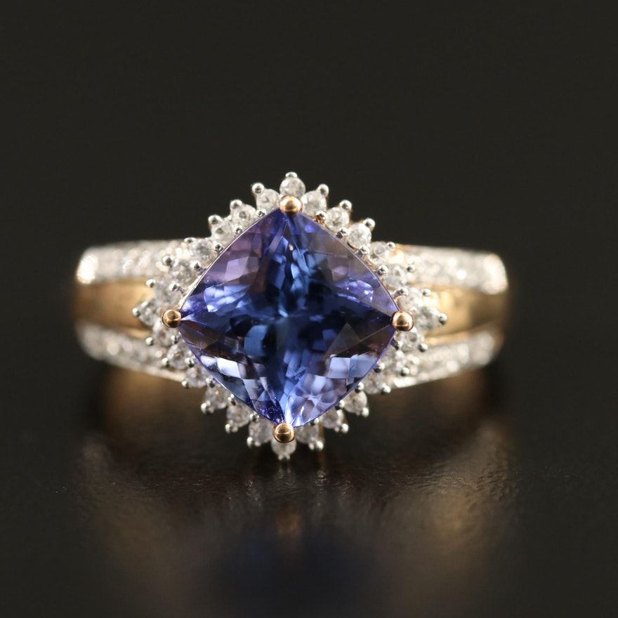 9K Tanzanite and Zircon Ring