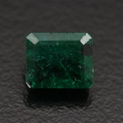 Loose 1.85 CT Rectangular Faceted Emerald with GIA Report