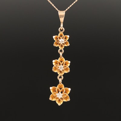 Early 1900s 10K Diamond Tiered Flower Necklace