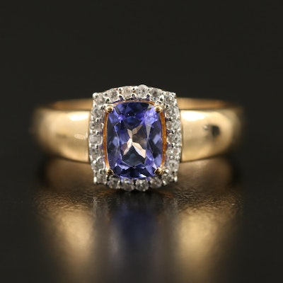 14K Tanzanite and Zircon Halo Ring