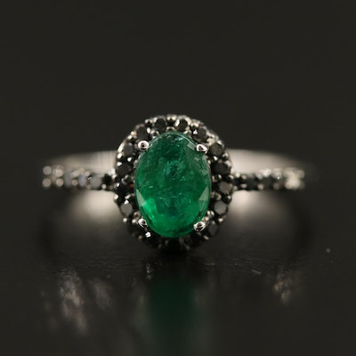 10K Emerald and Black Diamond Ring