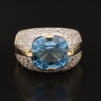 18K 4.92 CT Aquamarine and 2.10 CTW Diamond Bombé Ring