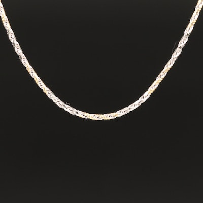 14K Two-Tone Diamond Cut French Rope Necklace