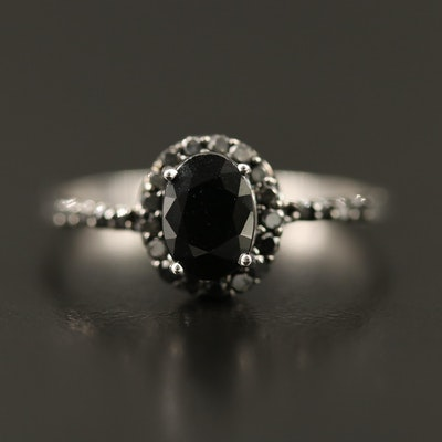 10K Sapphire and Black Diamond Ring
