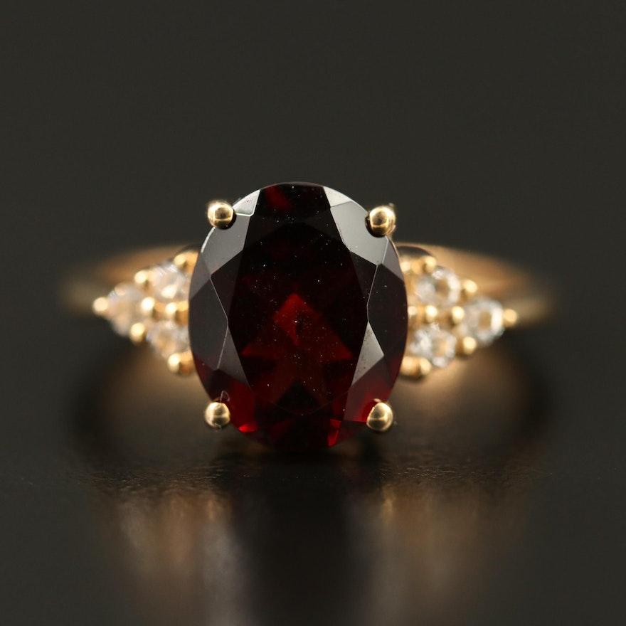 10K Garnet and Sapphire Ring