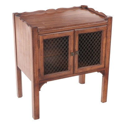 Davis Cabinet Co. Mahogany Nightstand with Wire Door Fronts, Late 20th Century