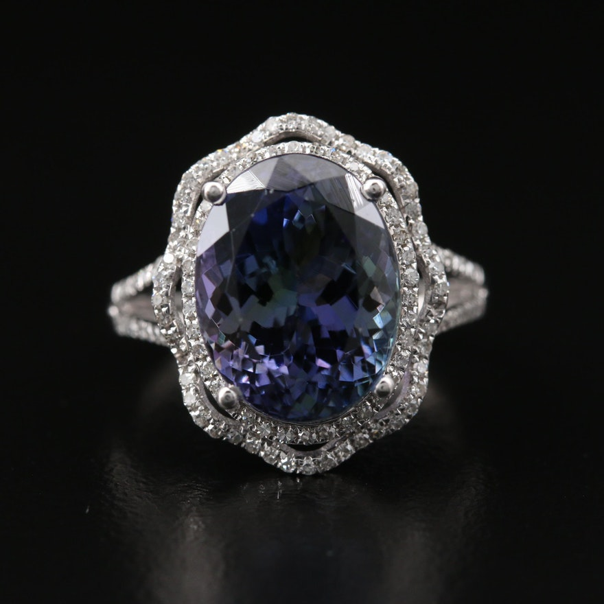 14K 7.64 CT Tanzanite and Diamond Halo Ring with GIA Report