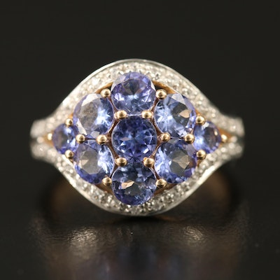 9K Tanzanite Cluster Ring with Topaz Halo