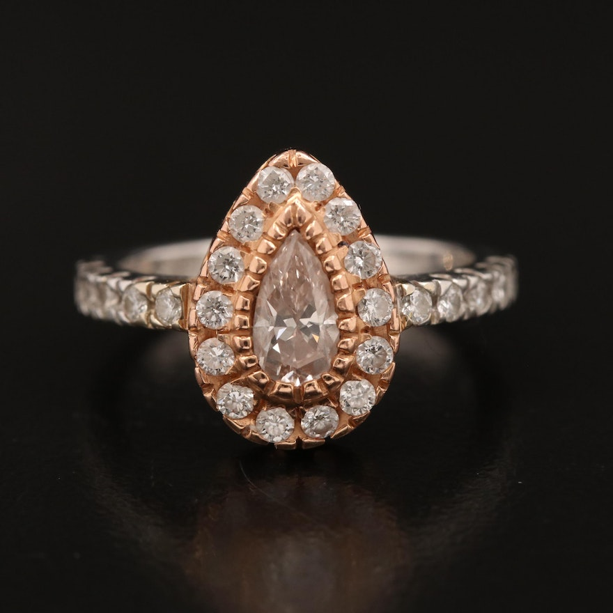 18K 1.00 CTW Diamond Ring with Rose Gold Accents and GIA Report