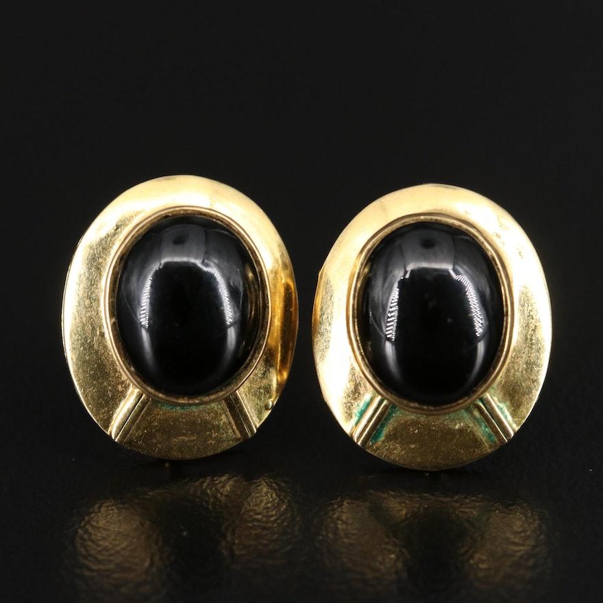 14K Black Onyx Button Earrings