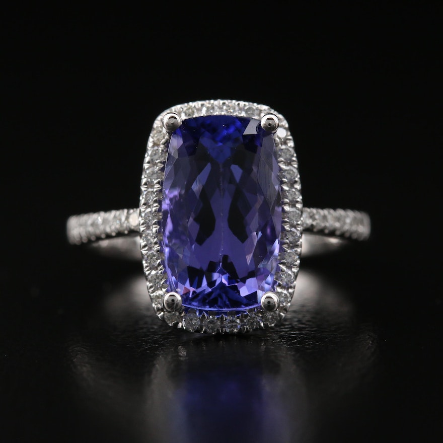 14K 4.05 Tanzanite and Diamond Halo Ring with GIA Report
