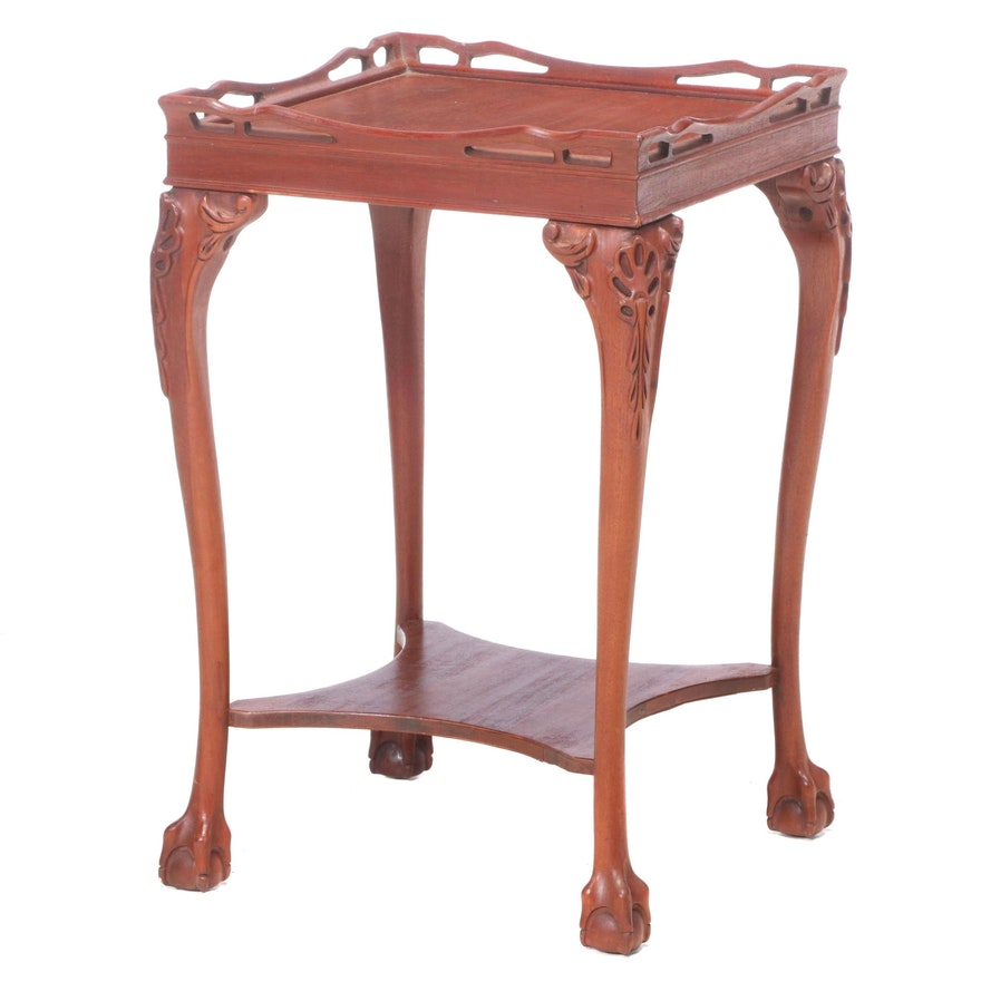 Chippendale Style Mahogany Two-Tier Side Table, 20th Century