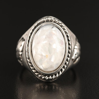 Mother of Pearl in Resin Oval Ring with Fish Motif