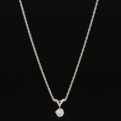 14K 0.35 CT Diamond Pendant Necklace