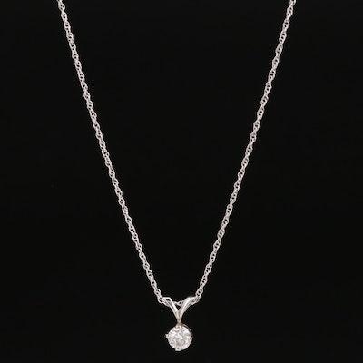 14K 0.35 CT Diamond Pendant Necklace