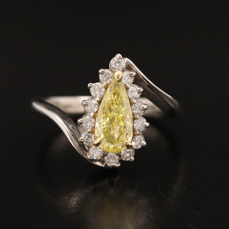 Platinum 1.35 CTW Diamond Bypass Ring with GIA Report and 18K Accent