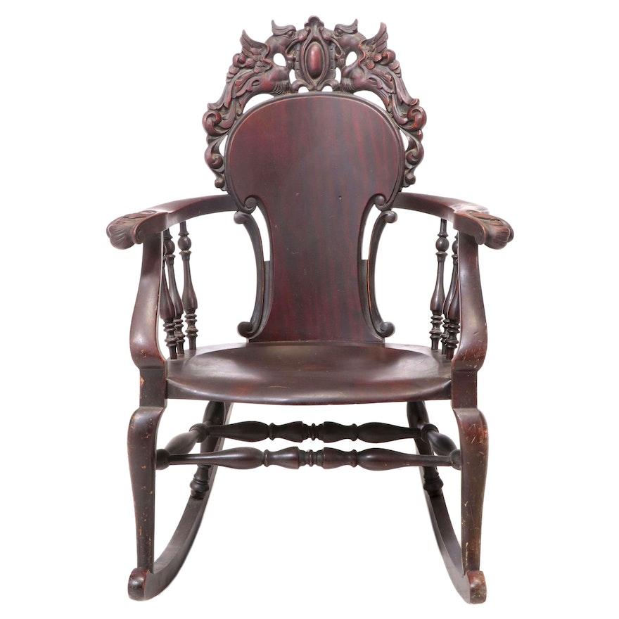Renaissance Revival Rocking Armchair, Attrib. to Stickley & Brandt, circa 1900