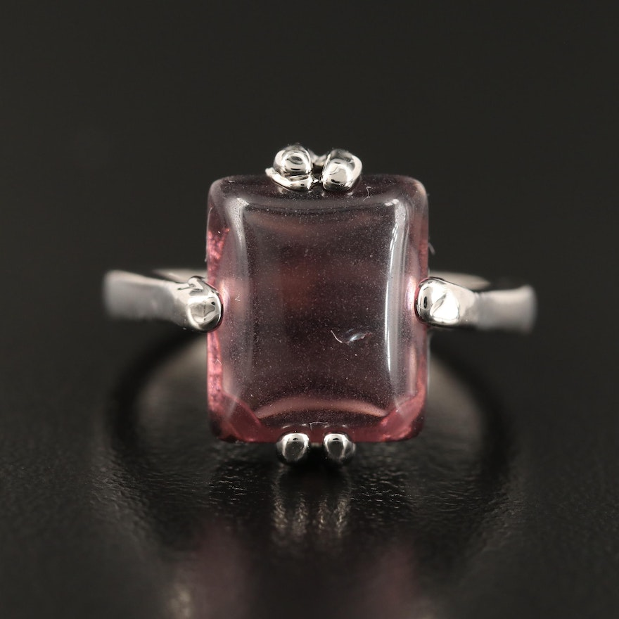 Glass Solitaire Rectangular Ring