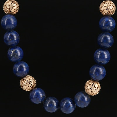 Beaded Lapis Lazuli Necklace with 14K Spacer Beads