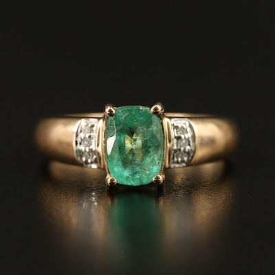 9K Emerald and Diamond Ring