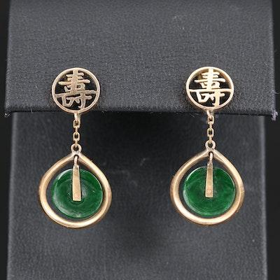 14K Jadeite Longevity Dangle Earrings