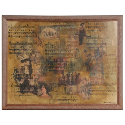 Donna LoMonaco Wild West Show Collage Silkscreen Print