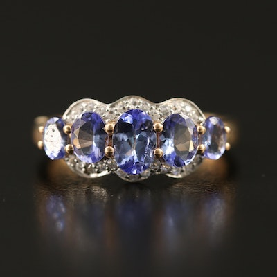9K Tanzanite Ring with Spinel Accents