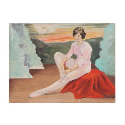 Oil Painting of a Ballerina, Mid-20th Century