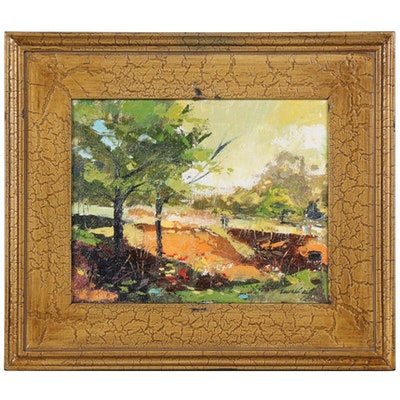 "Said Oladejo-lawal Landscape Oil Painting ""Sharonwood Park 2"", 21st Century"